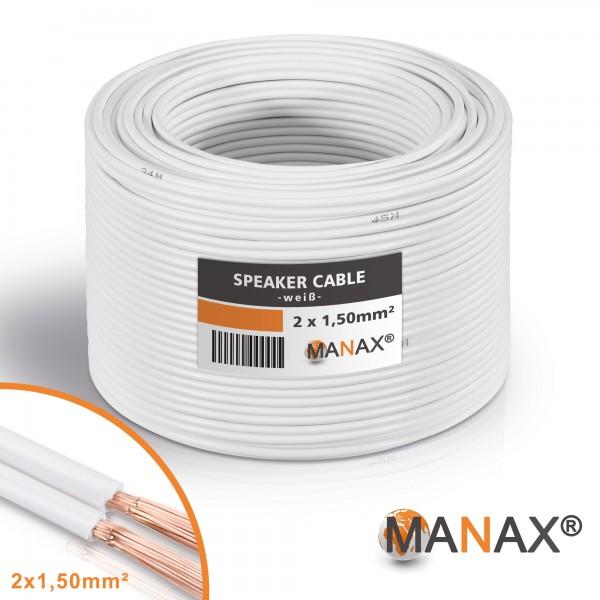 10m 2x1,5mm² Lautsprecherkabel weiß Audio Kabel Boxenkabel 100% CCA