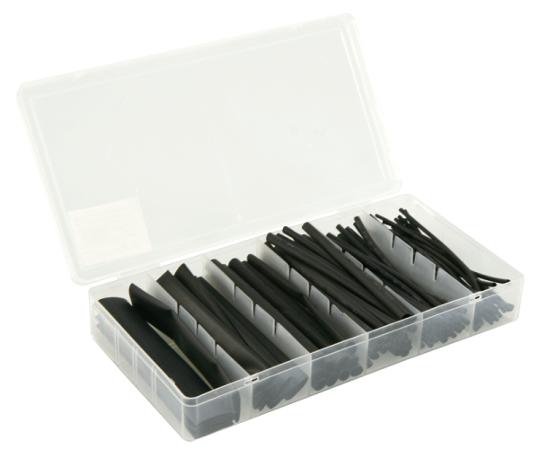 Schrumpfschlauch-Set McPower, 100-teilig in Sortimentsbox, schwarz