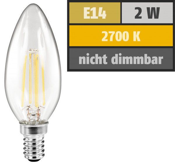 LED Filament Kerzenlampe McShine ''Filed'', E14, 2W, 200 lm, warmweiß, klar