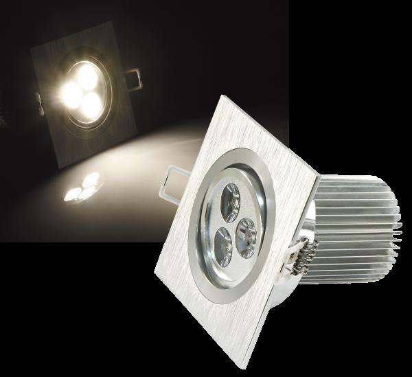 LED-Einbaustrahler McShine ''LES-992'', 9W LEDs, 92x92mm, warmweiß