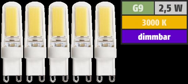 LED-Stiftsockellampe McShine ''Silicia COB'', G9, 2,5W, 260lm, warmweiß, 5er-Pack