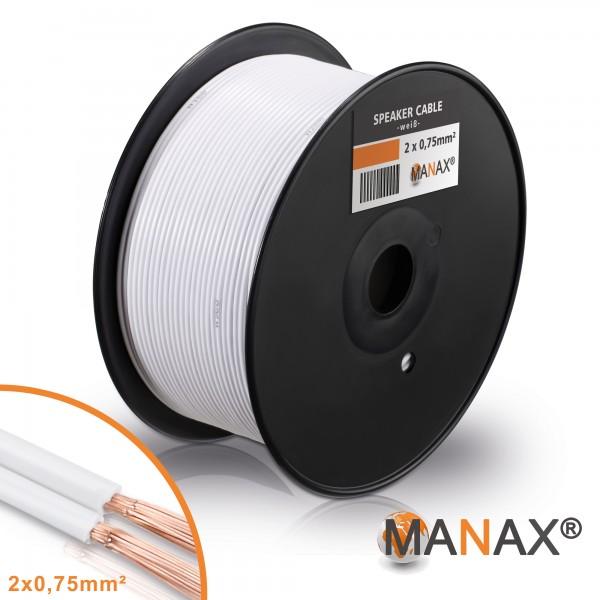 MANAX 100m Lautsprecherkabel 0,75mm² CCA Lautsprecher Boxen HiFi Kabel Weiß