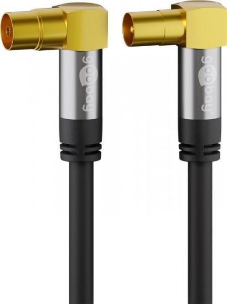 5m TV Antennenkabel (135 dB Typ) 4X geschirmt Koax-Buchse 90° > Koax-Stecker 90°