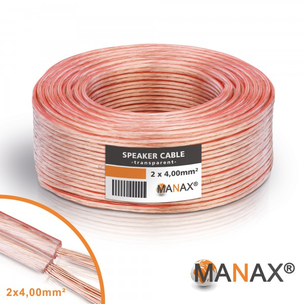 20m 2x4mm² Lautsprecherkabel transparent Audio Kabel Boxenkabel 100% CCA