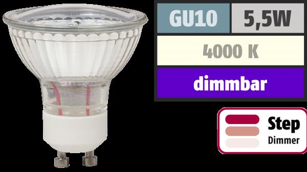 LED-Strahler McShine ''LS-450'' GU10, 5,5W, 470lm, neutralweiß, step dimmbar 100/50/20%