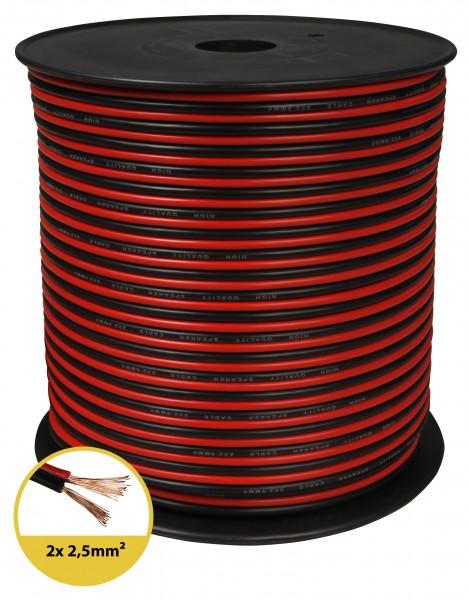 toolcity Lautsprecherkabel (Zwillingslitze) 2x2,5mm² (Boxenkabel/Audiokabel) 100 m rot/schwarz