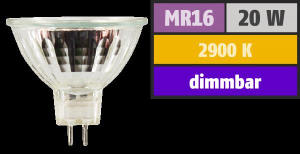 Halogen-Spiegellampe McShine, MR16, 50mm Ø, 12V/20W, 36° Flood, Frontglas