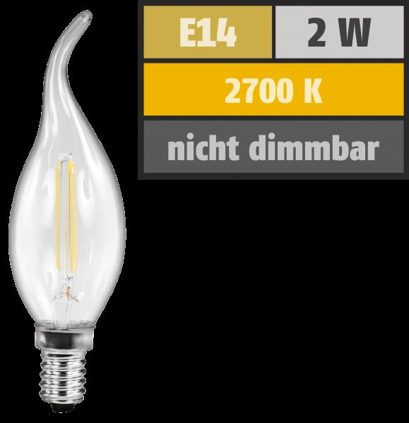 LED Filament Kerzenlampe Windstoß McShine ''Filed'', E14, 2W, 200 lm, warmweiß, klar