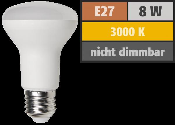 LED-Reflektorstrahler McShine, E27, R63, 8W, 640lm, 3000K, warmweiß