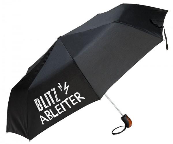 "Gilde Regenschirm Taschenschirm - "" Blitzableiter "" schwarz Griff Holzlook"