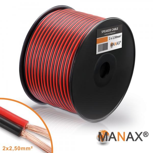 100m 2x2,5mm² Lautsprecherkabel rot / schwarz Audio Kabel Boxenkabel 100% CCA