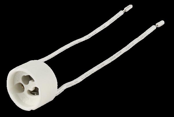 Lampenfassung, GU10, rund, füŸr Hochvoltlampen, 11 cm Kabel, max. 250V / 100W