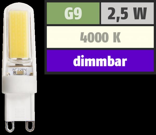 LED-Stiftsockellampe McShine ''Silicia COB'', G9, 2,5W, 260 lm, neutralweiß, dimmbar
