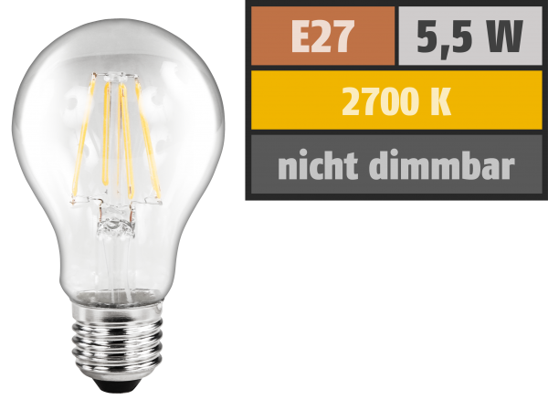 LED Filament GlŸühlampe McShine ''Filed'', E27, 5,5W, 600 lm, warmweiß, klar