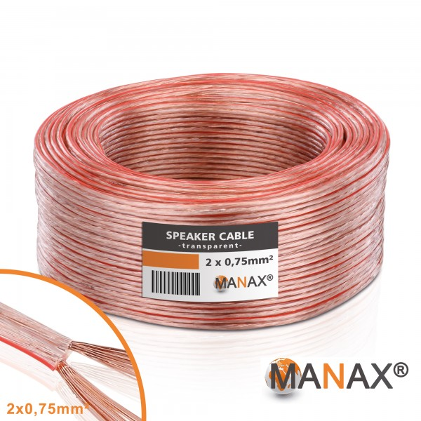 25m 2x0,75mm² Lautsprecherkabel transparent Audio Kabel Boxenkabel 100% CCA