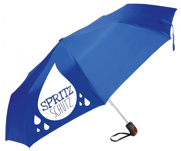 "Gilde Regenschirm Taschenschirm - "" Spritzschutz ""blau Griff Holzlook"