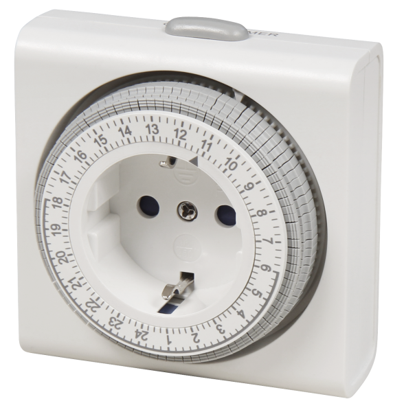 Mechanische Zeitschaltuhr ''Kompakt'', weiß automatischer Lichtschalter