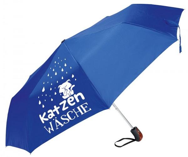 """Gilde Textil Regenschirm """"Katzenwäsche"""" blau mit Hülle/Griff Holzlook"""