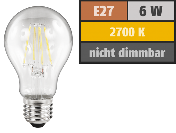 LED Filament GlüŸhlampe McShine ''Filed'', E27, 6W, 810 lm, warmweiß