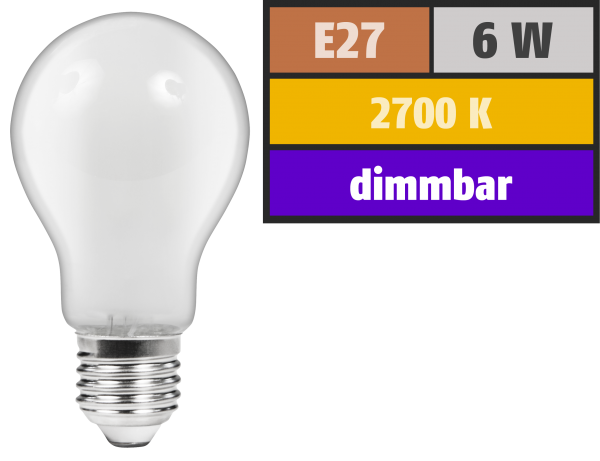 LED Filament GlüŸhlampe McShine ''Filed'', E27, 6W, 540 lm, warmweiß, dimmbar, matt