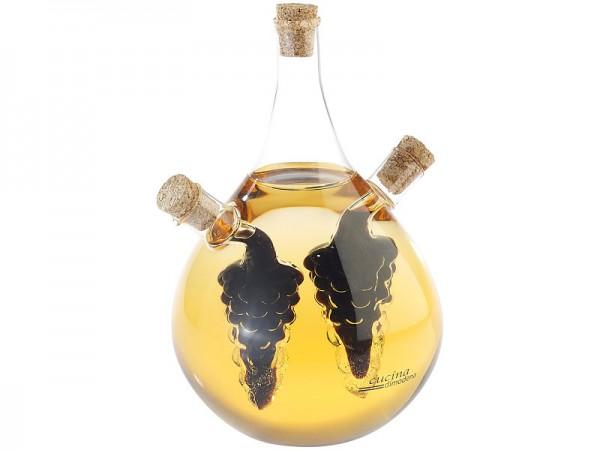 Mundgeblasener Glas Essig- & Ölspender, drei getrennten Kammern, 500ml