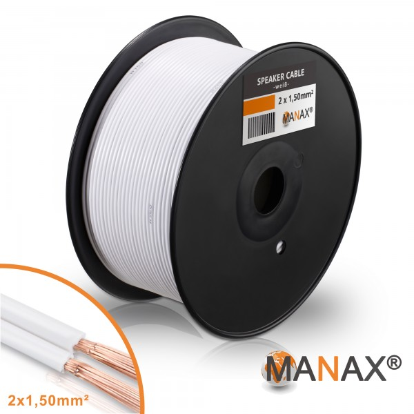 100m Lautsprecherkabel (Single-Wire) 2x1,5mm² CCA weiß Metermarkierung